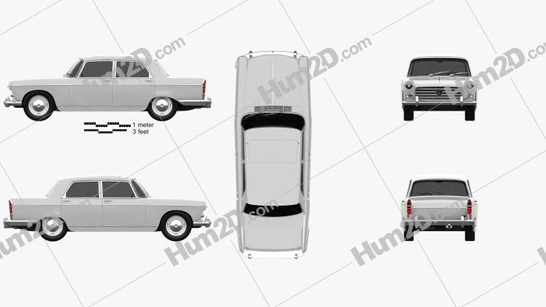 Peugeot 404 Berline 1960 Clipart Bild