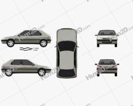 Peugeot 306 5-door hatchback 1993 car clipart