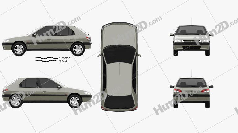Peugeot 306 5-door hatchback 1993 Clipart Image