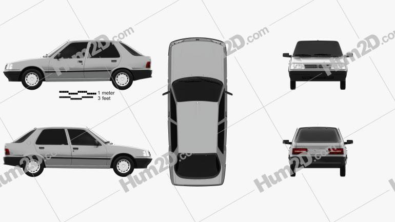 Peugeot 309 5-door 1985 car clipart