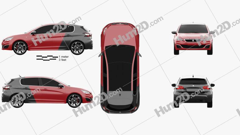 Peugeot 308 GTi 2015 Clipart Image