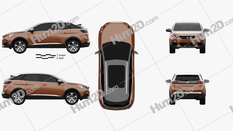 Peugeot 3008 2016 car clipart