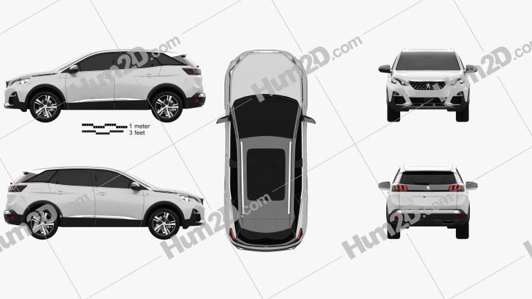 Peugeot 3008 GT Line 2016 Clipart Image
