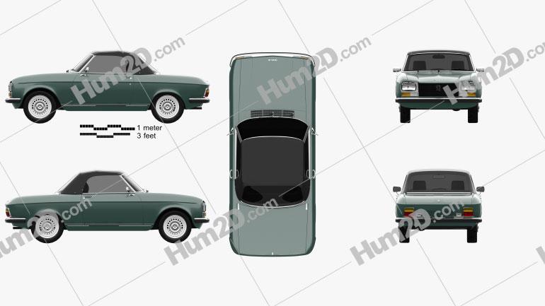 Peugeot 304 convertible 1970 car clipart