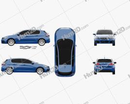 Peugeot 308 hatchback 2017 car clipart