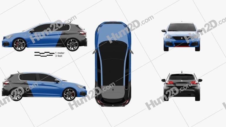 Peugeot 308 GTi hatchback 2017 car clipart