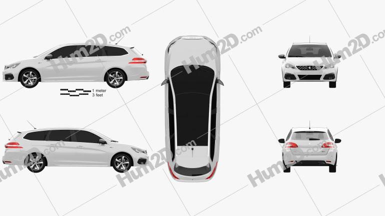 Peugeot 308 SW GT Line 2017 car clipart