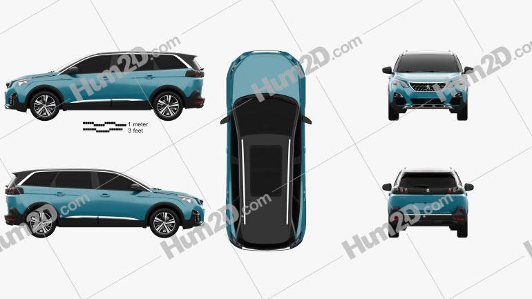 Peugeot 5008 2018 Clipart Image