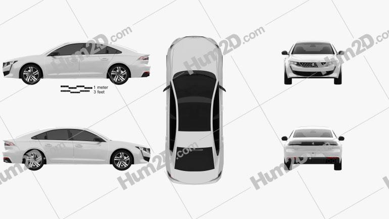 Peugeot 508 liftback GT-line 2018 car clipart