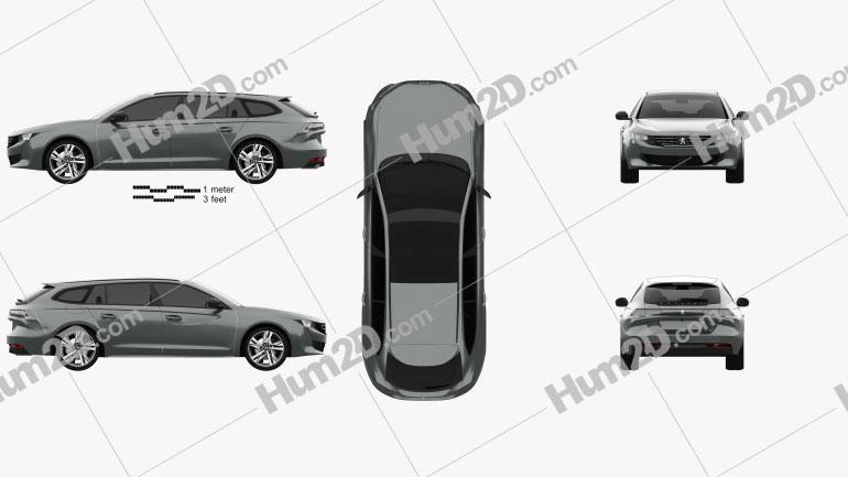 Peugeot 508 SW GT 2018 car clipart