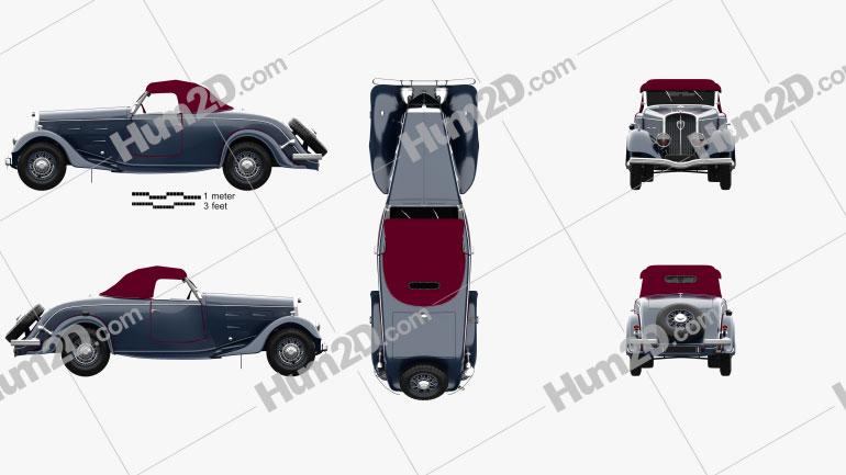 Peugeot 601 Roadster 1934 car clipart