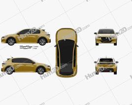 Peugeot 208 GT-Line 2019 car clipart