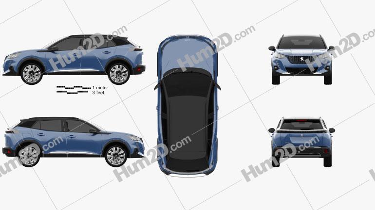 Peugeot e-2008 GT 2019 Clipart Bild
