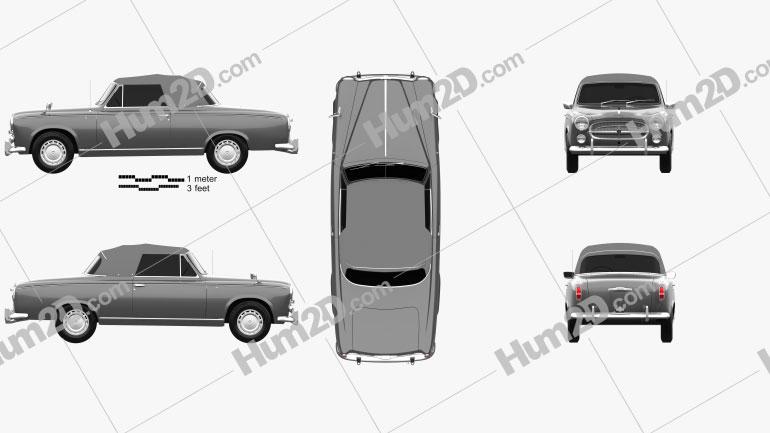 Peugeot 403 convertible 1959 car clipart