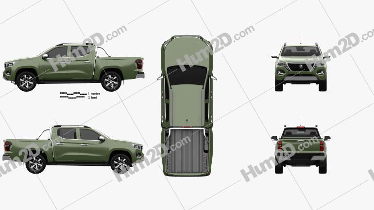 Peugeot Landtrek Double Cab Multi purpose 2020 car clipart
