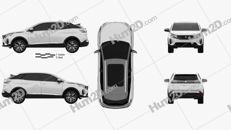 Peugeot 3008 hybrid4 2020 car clipart