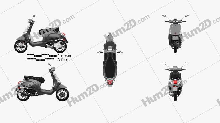 Piaggio Vespa Sprint 2016 Motorcycle clipart
