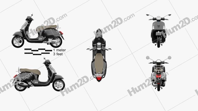 Piaggio Vespa GTS 2016 Motorcycle clipart