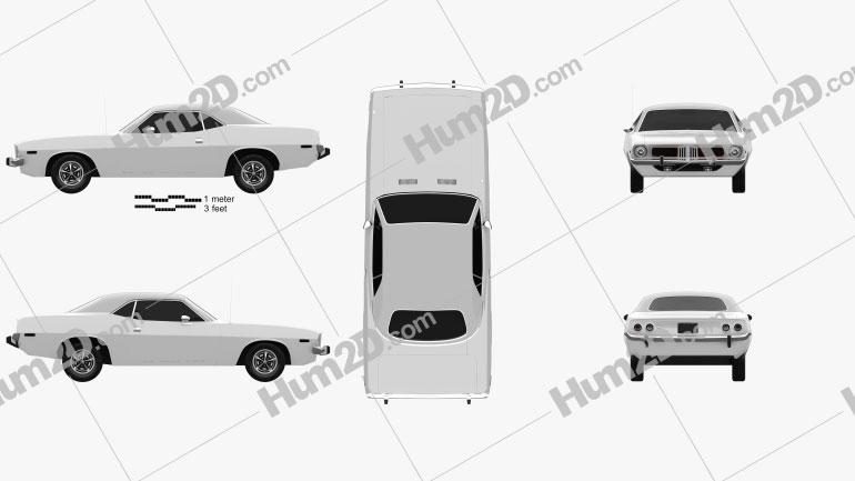 Plymouth Barracuda hardtop 1974 car clipart