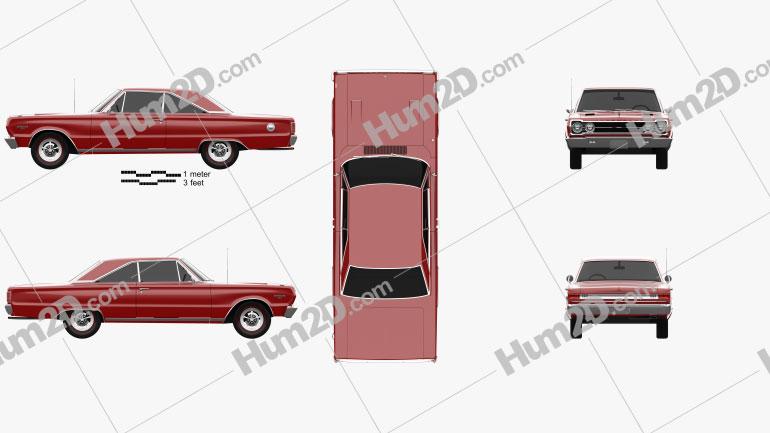 Plymouth Belvedere GTX coupe 1967 car clipart