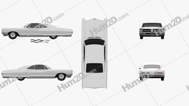Pontiac Bonneville Hardtop 2-door 1966 car clipart