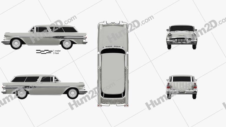 Pontiac Star Chief Custom Safari 2-door 1957 car clipart