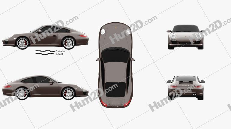 Porsche 911 Carrera S Coupe 2011 Clipart Image