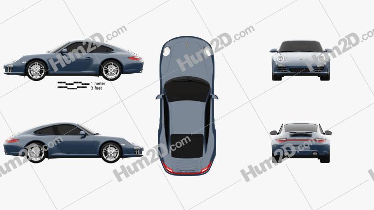 Porsche 911 Carrera 4 Coupe 2011 Clipart Image