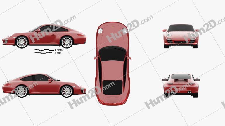 Porsche 911 Carrera 4S Coupe 2011 car clipart