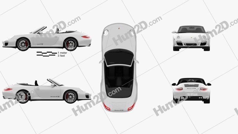 Porsche 911 Carrera GTS Cabriolet 2011 car clipart
