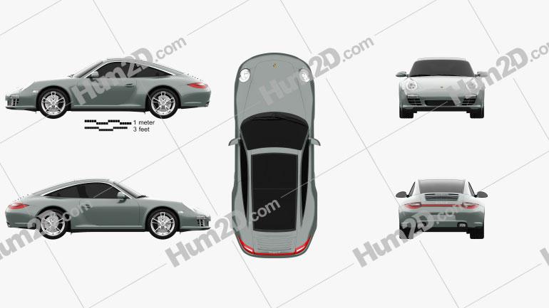 Porsche 911 Targa 4 2011 Clipart Image