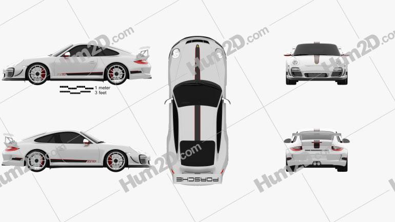 Porsche 911 GT3RS 2011 car clipart