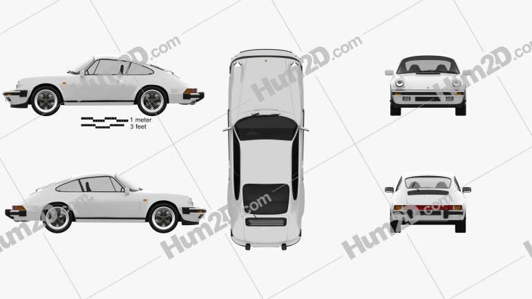 Porsche 911 Carrera Coupe 1987 car clipart