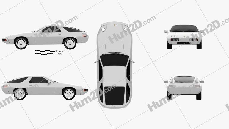 Porsche 928 1981 car clipart