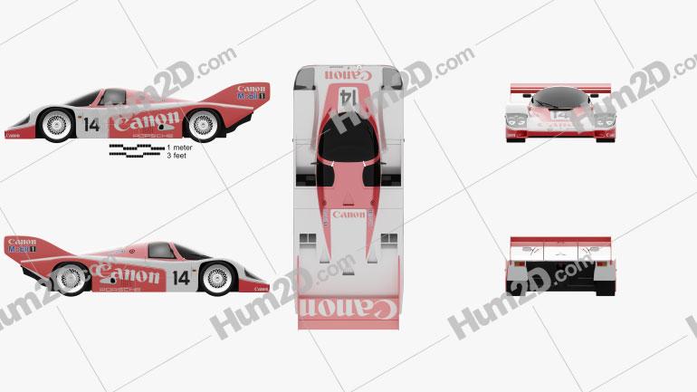 Porsche 956 C 1984 Clipart Image