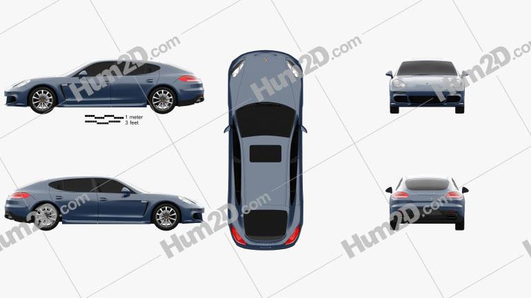 Porsche Panamera 4S Executive 2014 Clipart Image