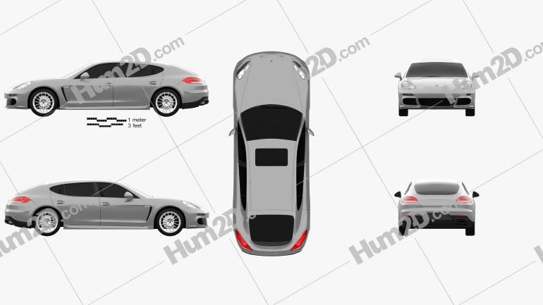 Porsche Panamera Turbo Executive 2014 car clipart