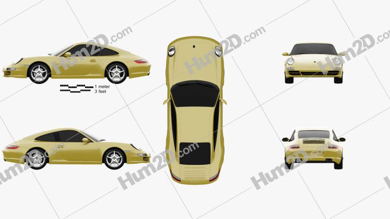 Porsche 911 Carrera (997) 2005 Clipart Image