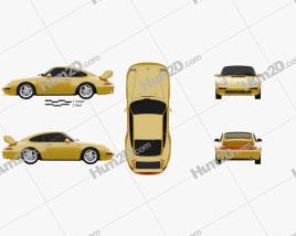 Porsche 911 Carrera RS Clubsport (993) 1995 car clipart