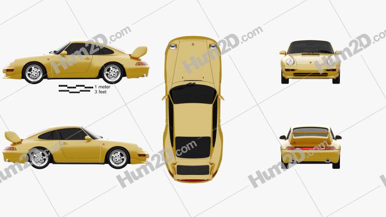 Porsche 911 Carrera RS Clubsport (993) 1995 Clipart Image