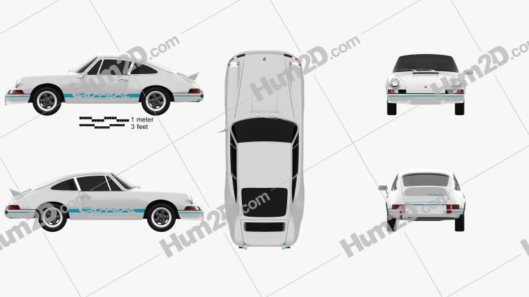 Porsche 911 Carrera RS Sport (911) 1972 Clipart Image