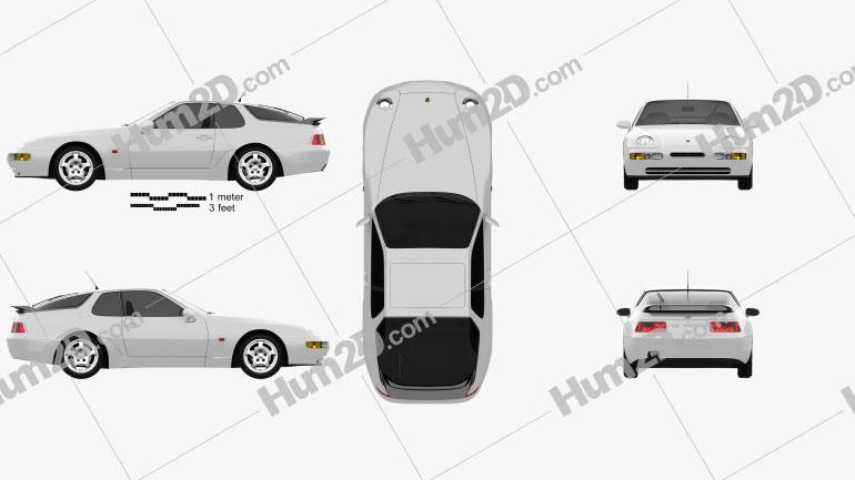 Porsche 968 1991 car clipart