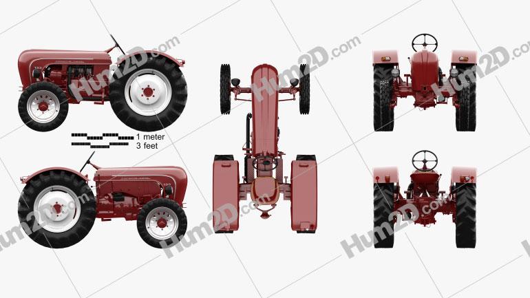 Porsche Diesel Tractor P 133 1956 Tractor clipart