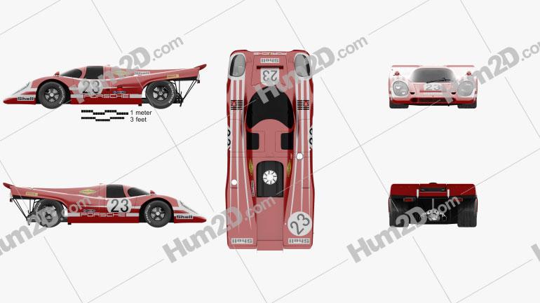 Porsche 917 K Team Salzburg 1970 car clipart