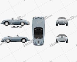 Porsche 356A 1600 Super Speedster 1955 car clipart