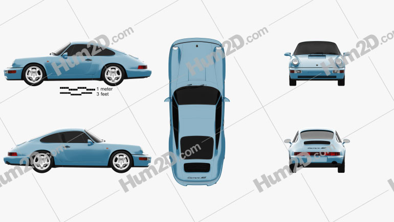 Porsche 911 Carrera RS Coupe (964) 1992 Clipart Image
