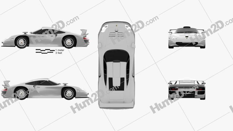 Porsche 911 GT1 Stradale (993) 1996 car clipart