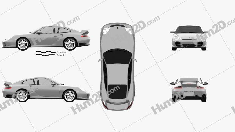 Porsche 911 GT2 Coupe (996) 2001 Clipart Image