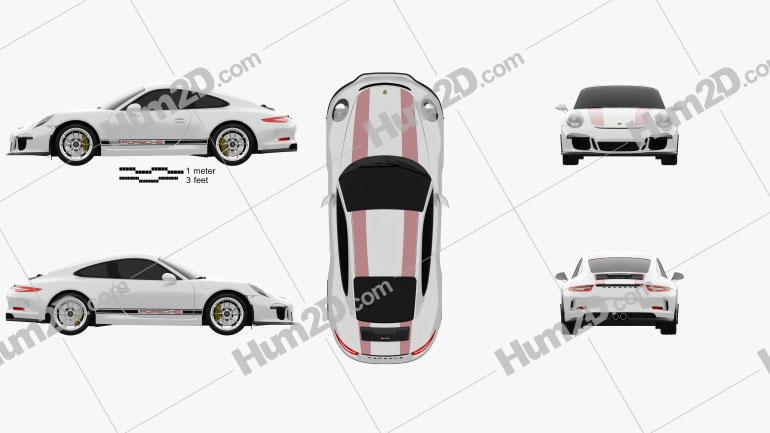 Porsche 911 R (991) 2017 car clipart