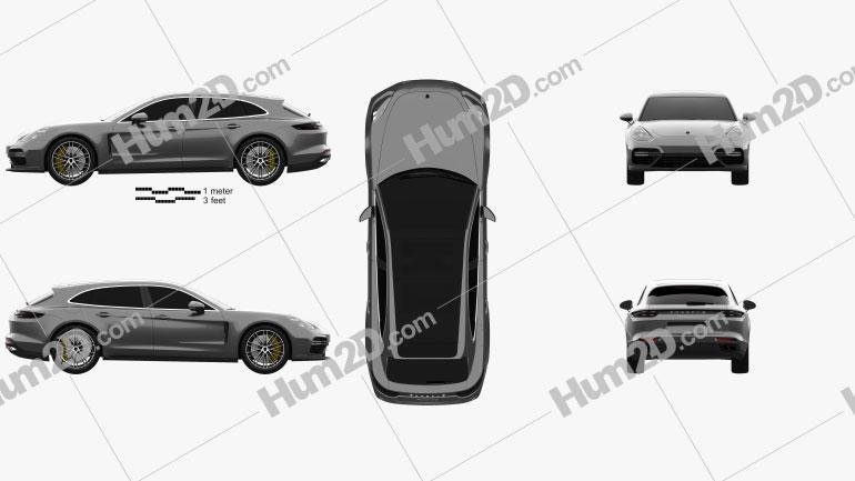 Porsche Panamera Sport Turismo Turbo 2017 Clipart Image